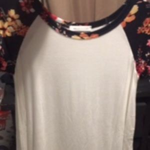 Ivory with Navy Floral Raglan